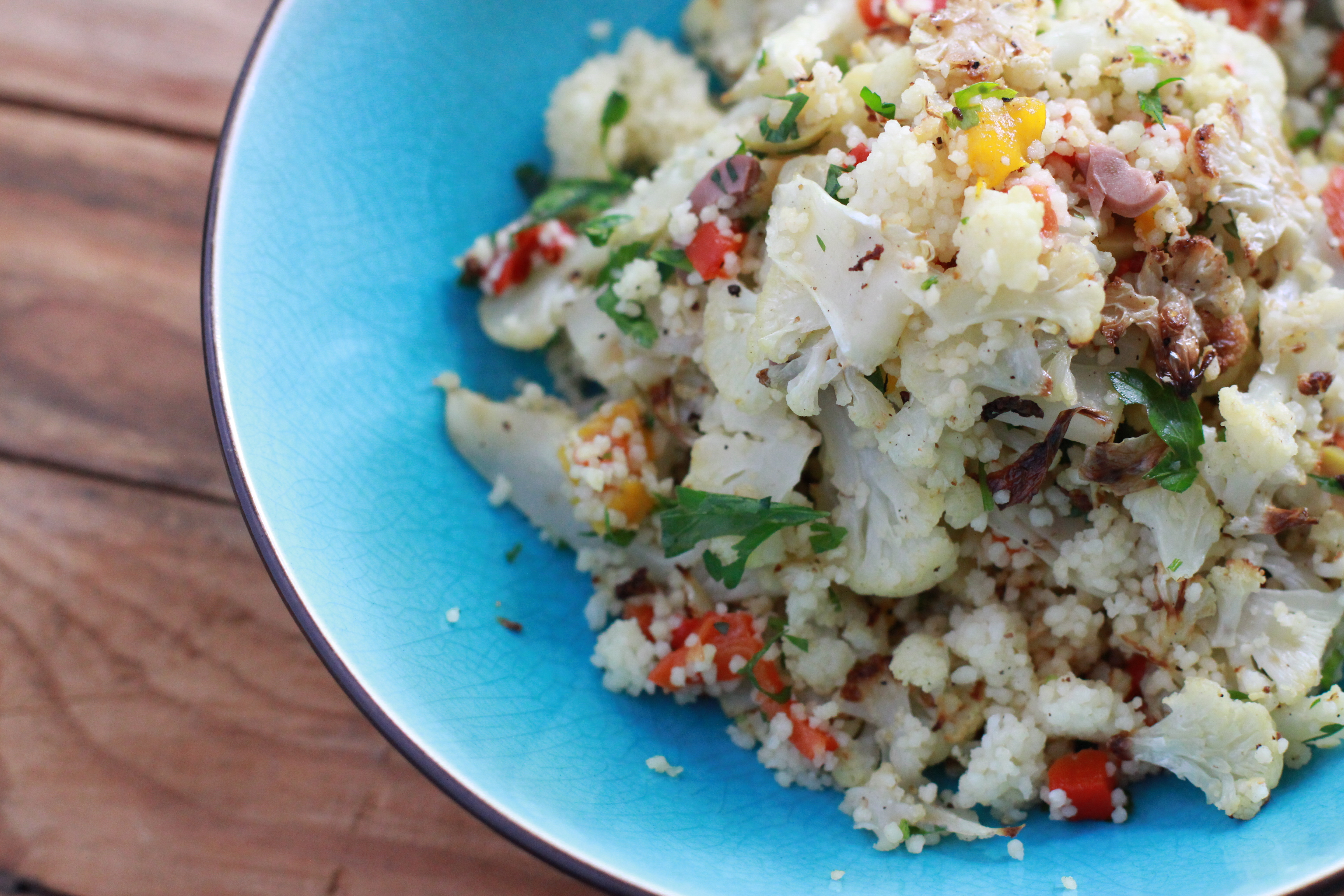 roasted cauliflower with lemon and couscous - Girl on the ...