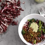 roasted broccoli with radicchio, crunchy paprika lentils, and sunflower seed dressing