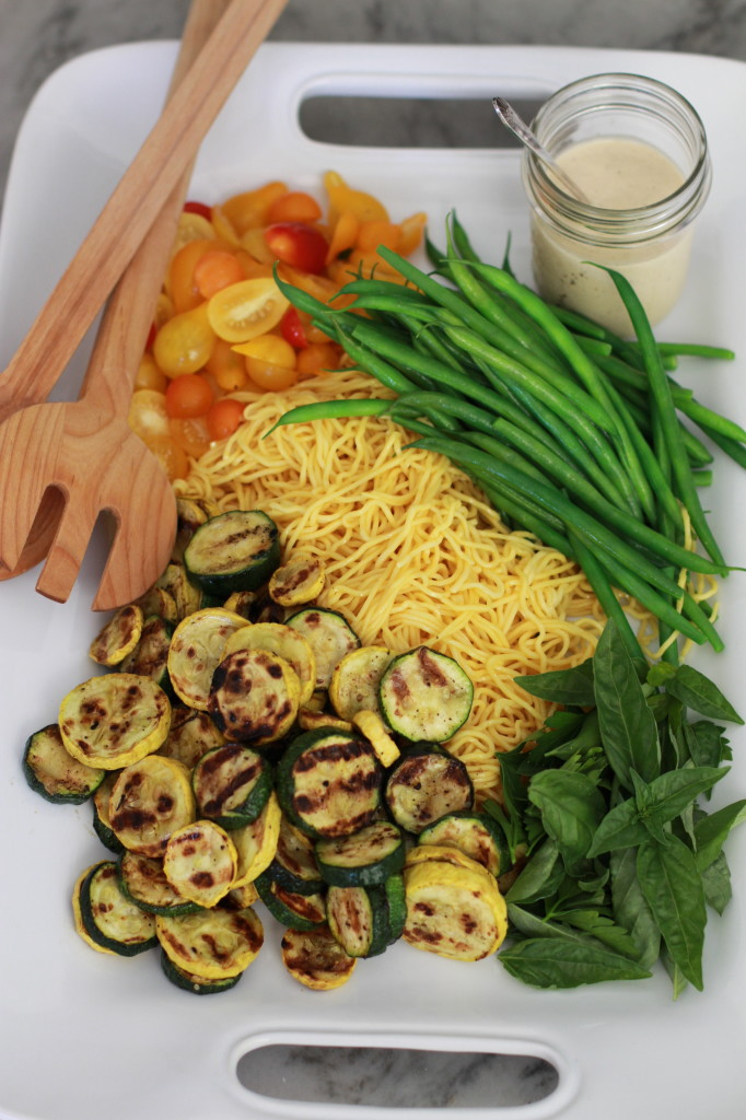 summer vegetable and noodle salad with tahini dressing www.girlontherange.com