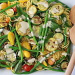 summer vegetable and noodle salad with tahini-lemon dressing