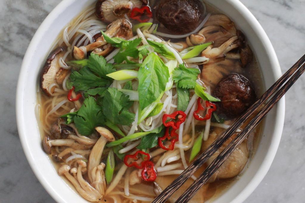 mushroom pho with fresh rice noodles www.girlontherange.com