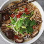 mushroom pho with fresh rice noodles