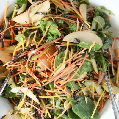 winter vegetable salad with creamy sesame dressing