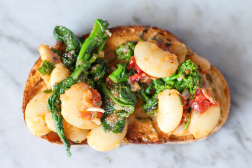 butter beans and broccolit rabe on toast www.girlontherange.com