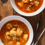 paprika-spiced cauliflower soup with chickpea dumplings