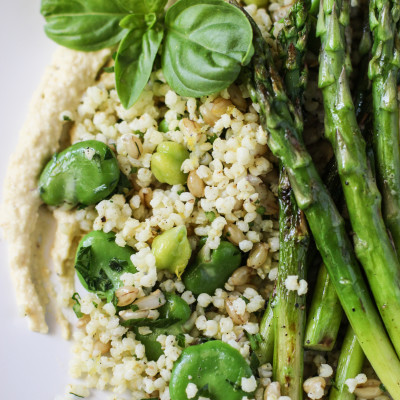 grilled asparagus salad with chickpea puree, lemony grains and basil dressing