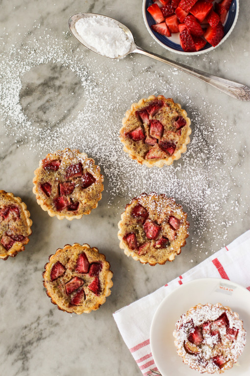 strawberry and rhubarb tartlets www.girlontherange.com