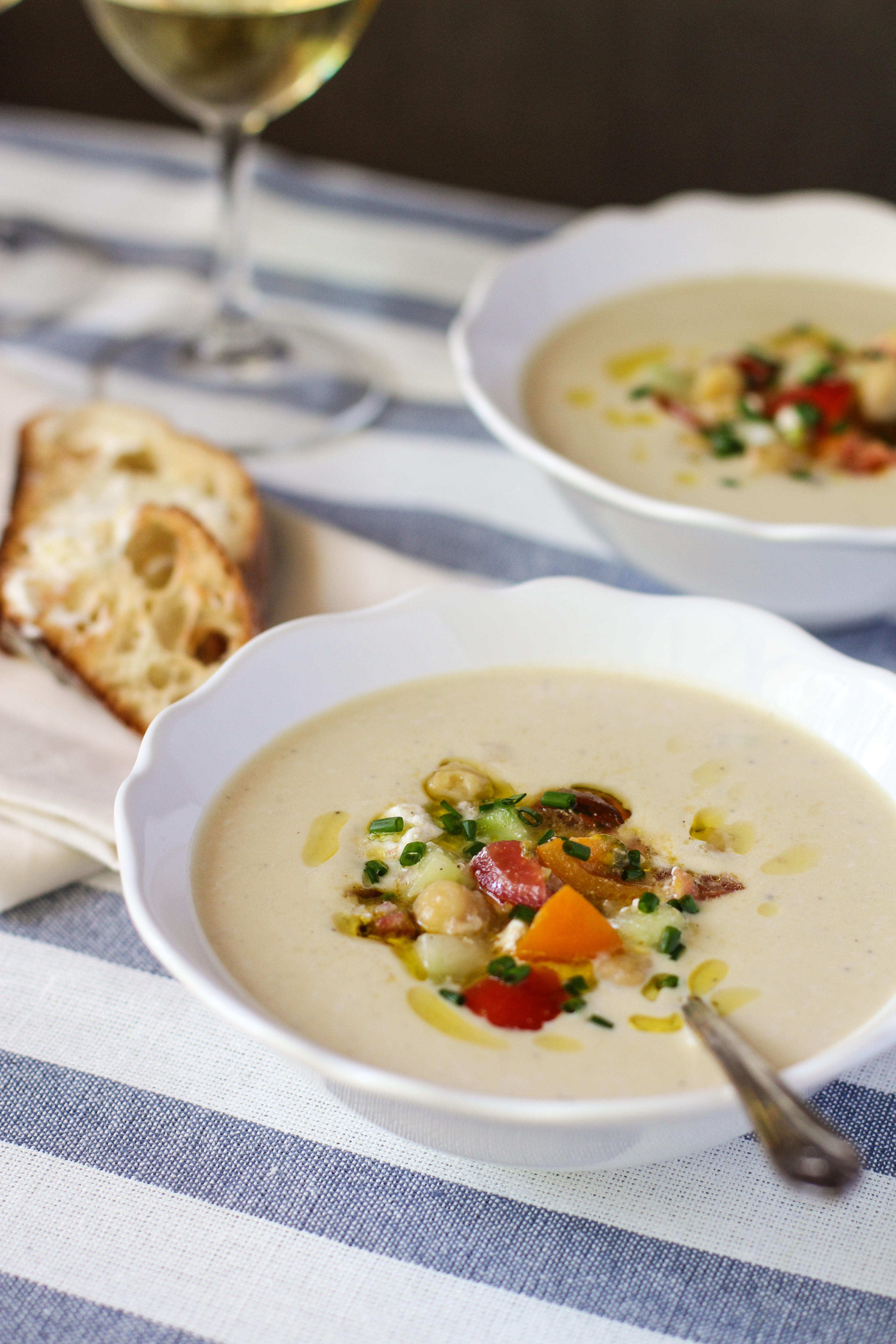 chilled hummus soup with heirloom tomato relish - Girl on ...