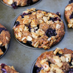 blueberry muffins with crunchy granola topping