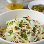 shaved broccoli stem, fennel and apple slaw