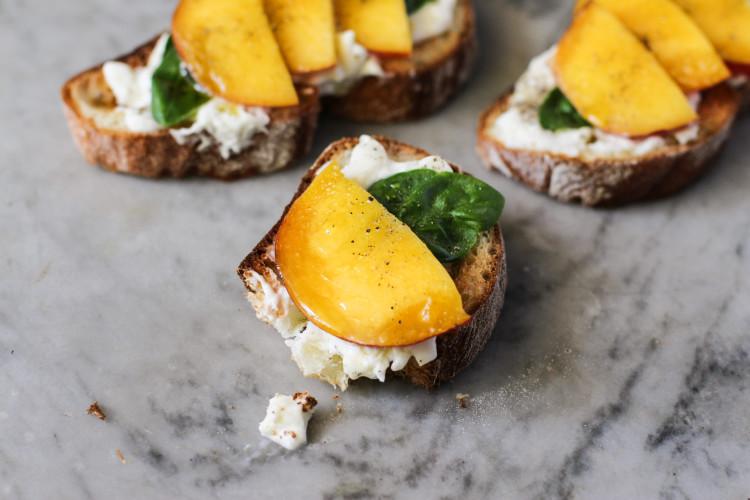 burrata, basil, peach toast  www.girlontherange.com