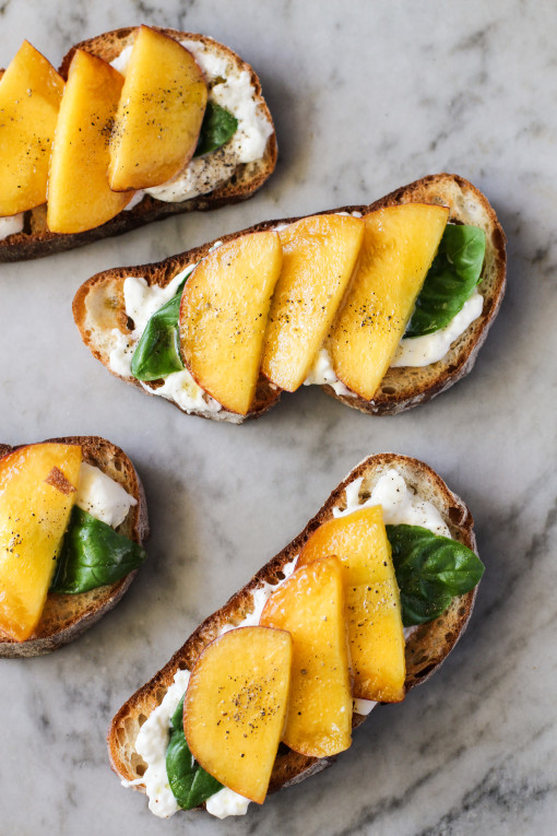 peach, basil, burrata toast www.girlontherange.com