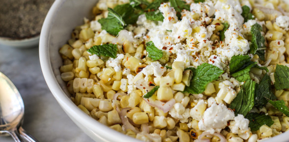 grilled corn salad with feta and mint