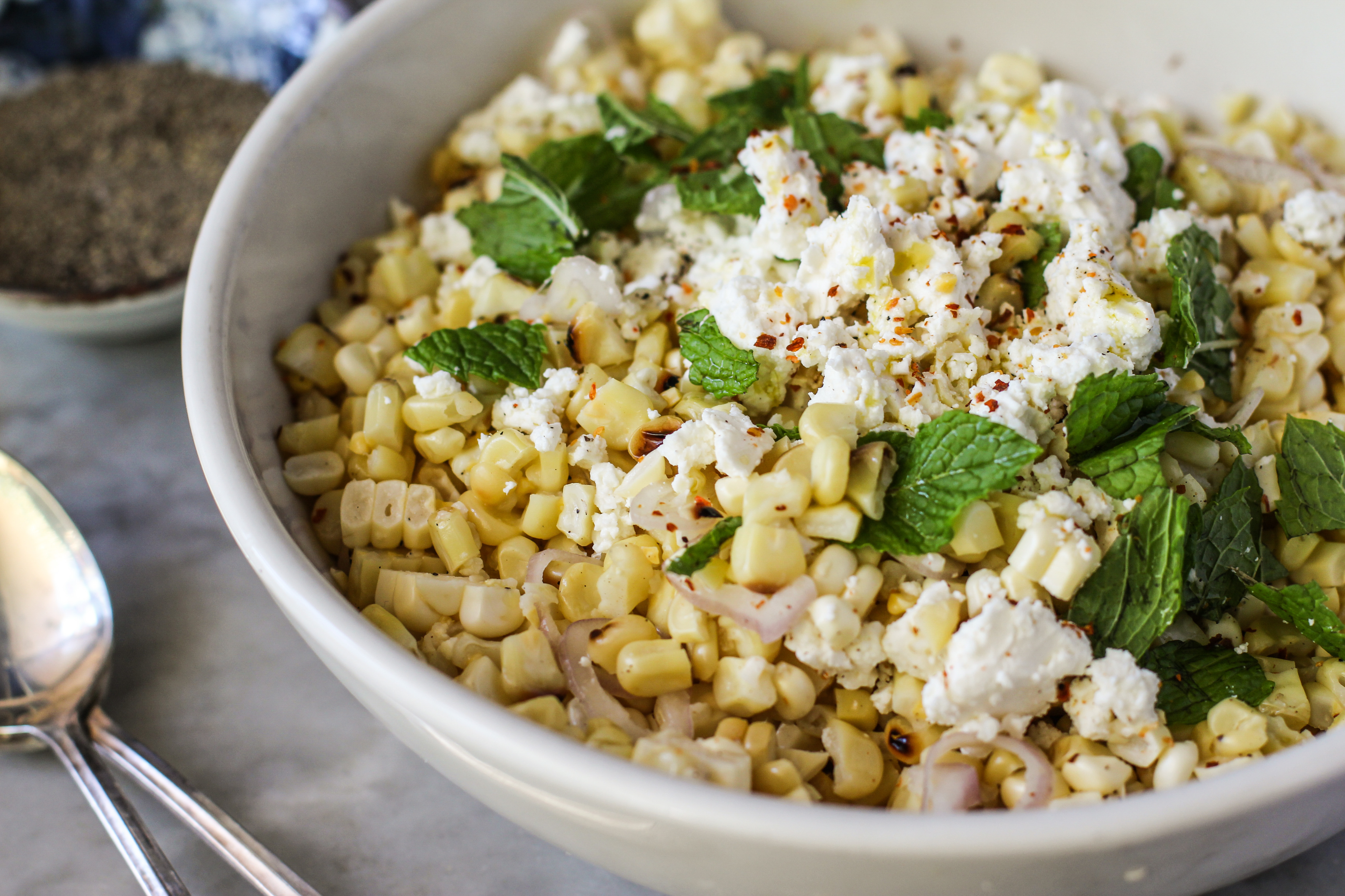 grilled corn salad with feta and mintGirl on the Range