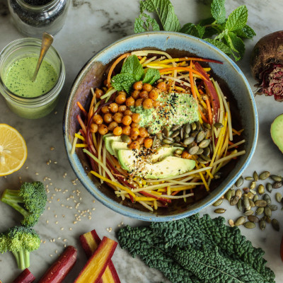 broccoli, beet and carrot salad with kale tahini