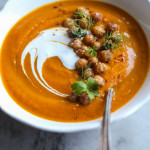moroccan carrot soup with crispy chickpeas