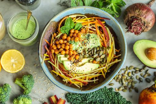 winter vegetable salad with kale tahini www.girlontherange.com