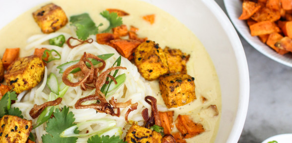 laska with roasted tofu and rice noodles