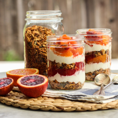 triple citrus and almond granola parfaits