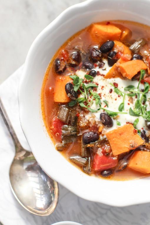 sweet potato and black bean stew www.girlontherange.com
