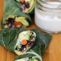 curry hummus and black rice collard wraps with lemon-yogurt sauce