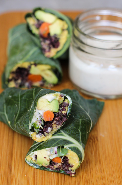 hummus and black rice collard wraps www.girlontherange.com