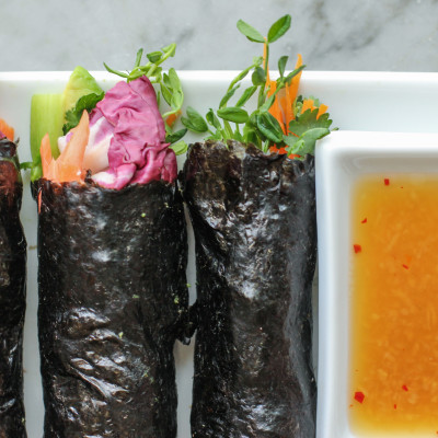 slow roasted salmon and avocado nori wraps with Vietnamese ginger sauce