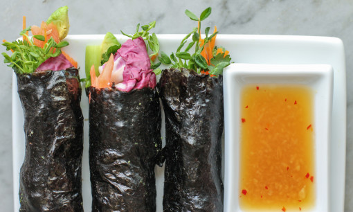salmon and vegetable nori wrap www.girlontherange.com