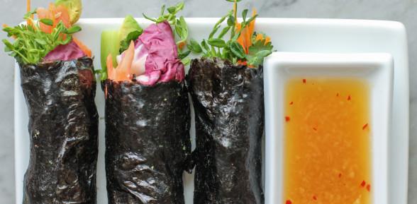 slow roasted salmon and avocado nori wraps with Vietnamese ginger sauce