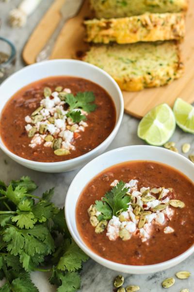 smoky black bean and poblano soup