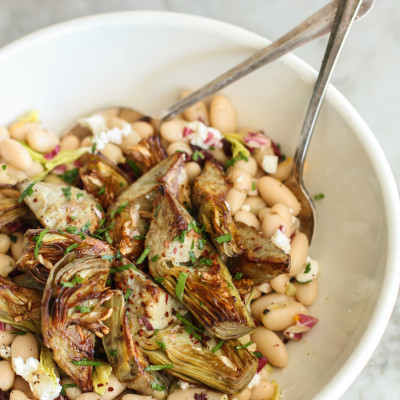 white bean and celery leaf salad with crispy artichoke hearts