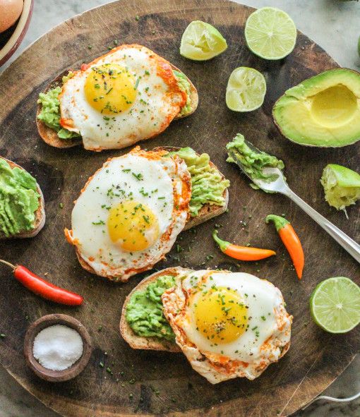 three avocado toast with chili lime fried eggs www.girlontherange.com