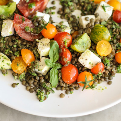 lentil caprese with kale and basil pesto