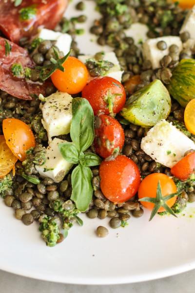 lentil caprese with kale pesto www.girlontherange.com