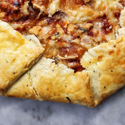 three cheese and caramelized onion galette