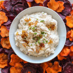 caramelized onion dip with baked sweet potato chips