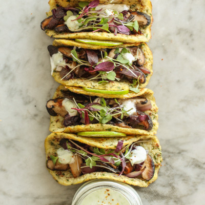 shitake mushroom and radicchio tacos with spicy avocado cream