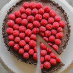 chocolate truffle tart with raspberries