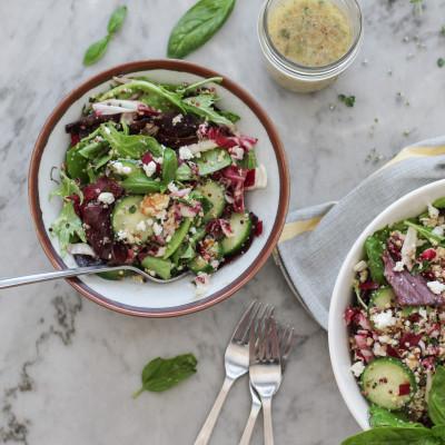 crispy green power salad with honey basil vinaigrette