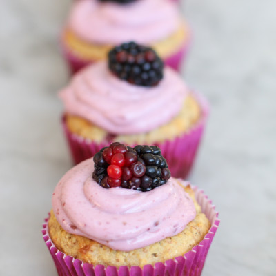 blackberry cupcakes with blackberry cream cheese frosting