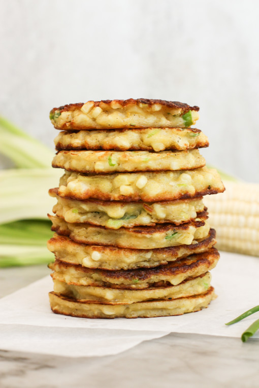 corn fritters stack www.girlontherange.com