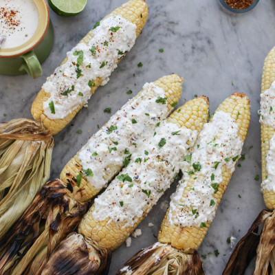 chile lime corn on the cob with feta cheese