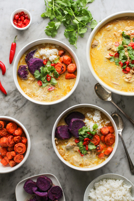 malaysian chicken curry three bowls www.girlontherange.com