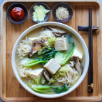 miso noodle soup with bok choy and tofu