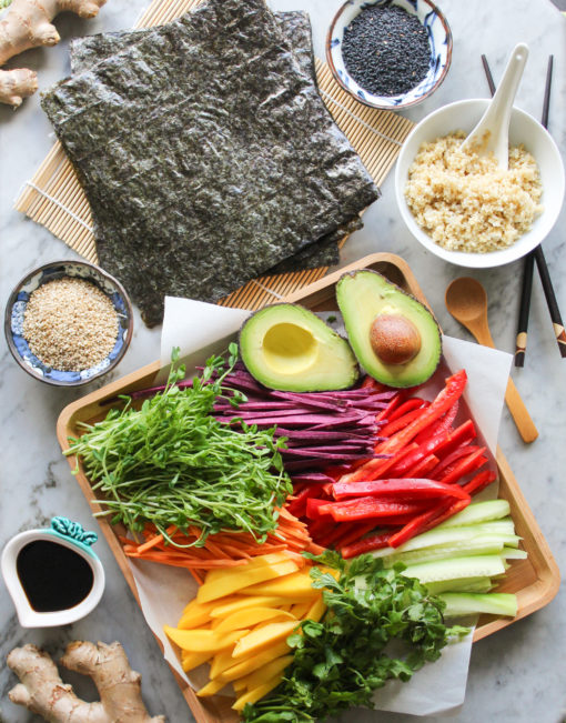 quinoa and vegetable sushi ingredients
