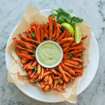spicy sweet potato fries with creamy cashew, lime and avocado sauce