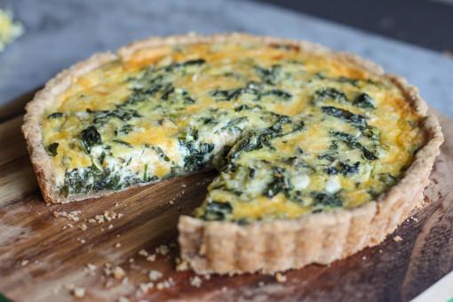 swiss chard and cheddar tart close up www.girlontherange.com