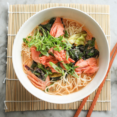 thai red curry noodles with roasted salmon and swiss chard