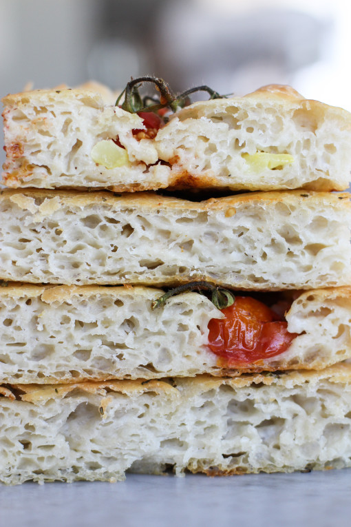tomato focaccia stacked high www.girlontherange.com