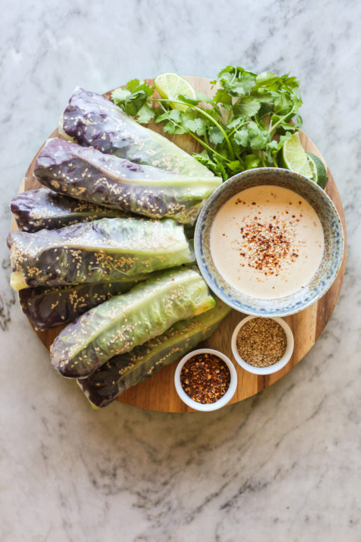 green summer rolls with spicy tahini sauce